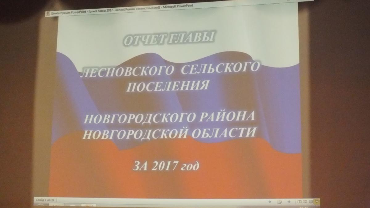 Отчет Главы Лесновского сельского поселения Соломахиной Е.Н за 2017г